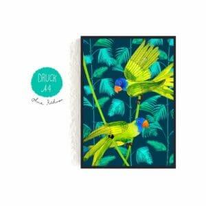 Frau Ottilie – Print DIN A4 Vögel im Dschungel