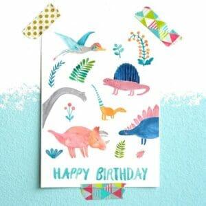 Frau Ottilie Postkarte Happy Birthday Dinos