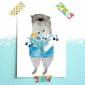 Frau Ottilie Postkarte Fischotter