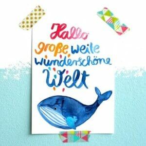 Frau Ottilie Postkarte Hallo Welt